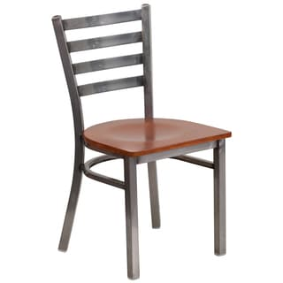 Hercules Series Clear Coated Ladder Back Metal Restaurant Chair - Wood Seat