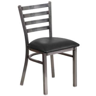 Hercules Series Clear Coated Ladder Back Metal Restaurant Chair - Vinyl Seat