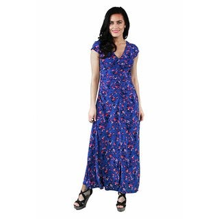 24/7 Comfort Apparel Women's Blue-Pink Rose Maxi Dress