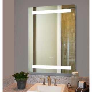 Innoci-USA electric mirror with safer longer lasting LED T5 Tube Mirror with digital built in clock in the mirror