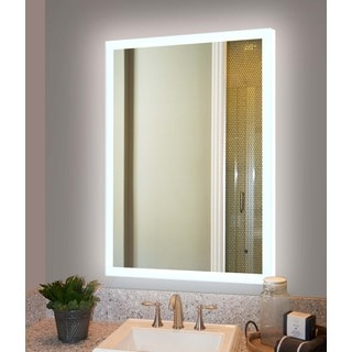 Innoci-USA Electric Mirror with back lit LED lights all around with steel back frame and 50,000 Hour LED Bulb Life