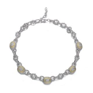 Collette Z Brass Cubic Zirconia Vintage Necklace