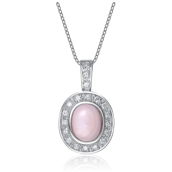 Collette Z Sterling Silver Cubic Zirconia Pink Stone Pendant Necklace