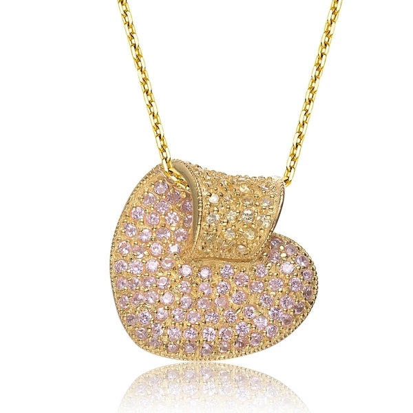 Collette Z Gold Overlay Clear Cubic Zirconia Pave Pendant Necklace