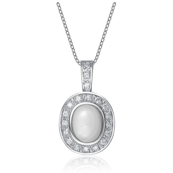 Collette Z Sterling Silver Cubic Zirconia White Stone Pendant Necklace