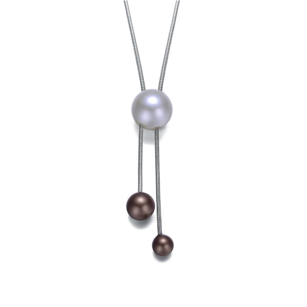 Collette Z Sterling Silver Pearl and Coffee Bead Necklace