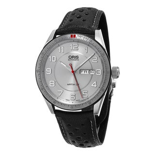 Oris Men's 735 7662 4461 LS 'Artix GT' Silver Dial Black Leather Strap DayDate Swiss Automatic Watch