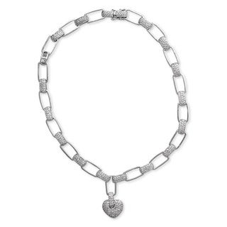 Collette Z Sterling Silver Clear Cubic Zirconia Heart Lock Necklace