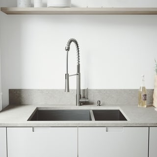 VIGO All-in-One 29-inch Stainless Steel Undermount Kitchen Sink and Laurelton Stainless Steel Faucet Set