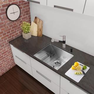 VIGO All-in-One 23-inch Stainless Steel Undermount Kitchen Sink and Branson Stainless Steel/Matte Black Faucet Set