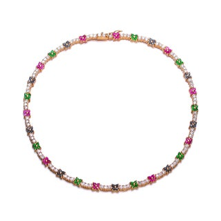 Collette Z Sterling Silver Multicolored Cubic Zirconia Necklace