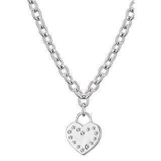 Collette Z Sterling Silver Clear Cubic Zirconia Flat Heart Necklace