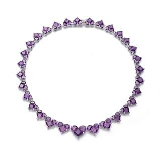 Collette Z Sterling Silver Purple Cubic Zirconia Purple Heart Necklace