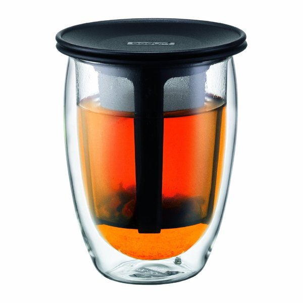 Bodum K11153-01US4 Tea for One Black Glass 12-ounce Tea Strainer