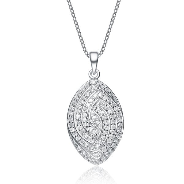 Collette Z Sterling Silver Cubic Zirconia Encrusted Oval Necklace 17597328