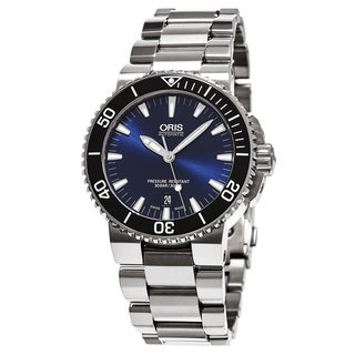 Oris Men's 733 7653 4135 MB 'Aquis Date' Blue Dial Stainless Steel Swiss Automatic Watch