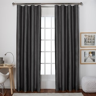 Exclusive Home Bolero Faux Silk Clip Ring/ Rod Pocket Window Curtain Panel Pair