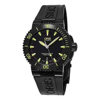 Oris Men's 733 7653 4722 RS 'Aquis Date' Black/Yellow Dial Black Rubber Strap Swiss Automatic Watch