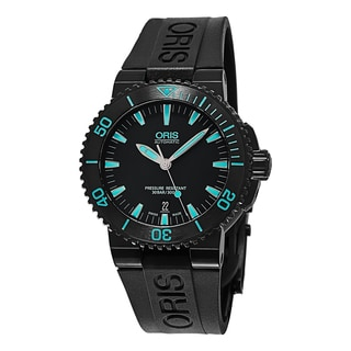 Oris Men's 733 7653 4725 RS 'Aquis Date' Black/Blue Dial Black Rubber Strap Swiss Automatic Watch