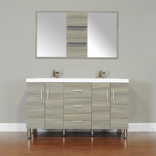 Alya Bath Ripley Collection 56 Inch Double Modern Bathroom Vanity Set In Grey 18380786