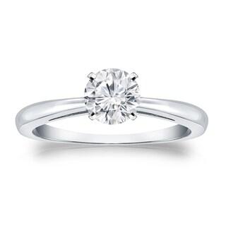 Auriya 18k Gold 1/2ct TDW Round Diamond Solitaire Engagement Ring (H-I, VS1-VS2)