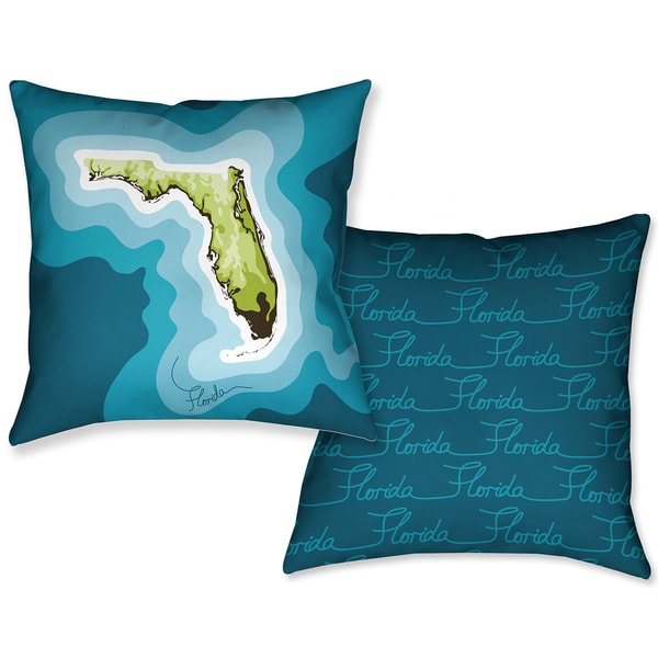 Laural Home Florida Topographic Abstract Map 18-inch ReversibleDecorative Pillow