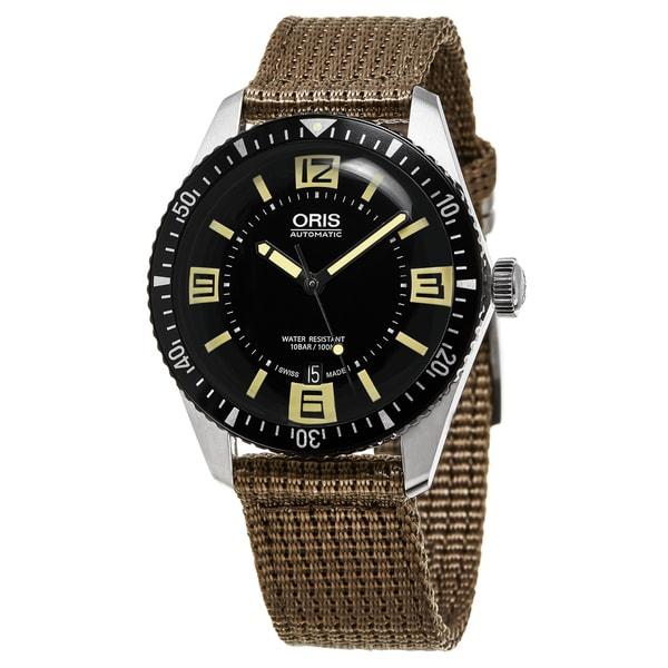 Oris Men's 733 7707 4064 LS 22 'Divers Sixty-Five' Black Dial Beige Fabric Leather Strap Swiss Automatic Watch
