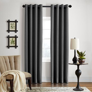 Grand Luxe Gotham Dark Grey Linen Grommet Curtain Panel