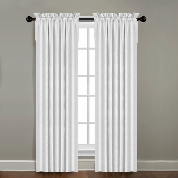 Grand Luxe Gotham Optical White Linen Rod Pocket Panel