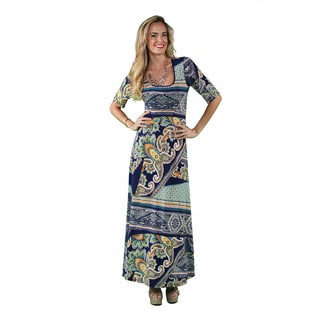 24/7 Comfort Apparel Women's Earth Paisley Printed Maxi