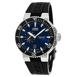 Oris Men's 743 7673 4135 RS 'Aquis' Blue Dial Black Rubber Strap Swiss Automatic Watch