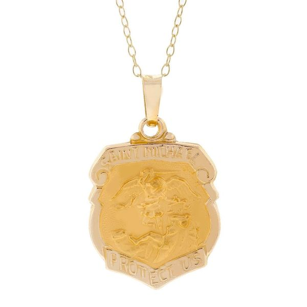 Pori 14k Yellow Gold St. Michael Badge Medal Necklace