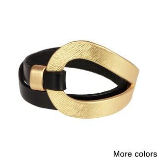 Saachi Looped Metal Leather Wrap Bracelet (China)