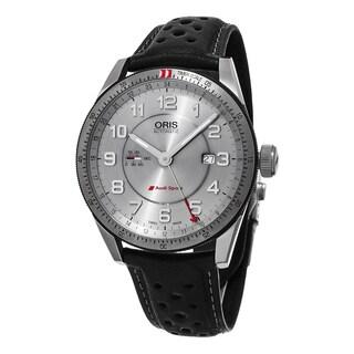 Oris Men's 747 7701 4461 LS 'Audi' Silver Dial Black Leather Strap Artix GMT Swiss Automatic Watch