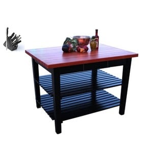John Boos 48x30 Cherry Butcher Block Table RN-C4830-D-2S / Drawwer / 2 Shelves & Henckels 13-piece Knife Set