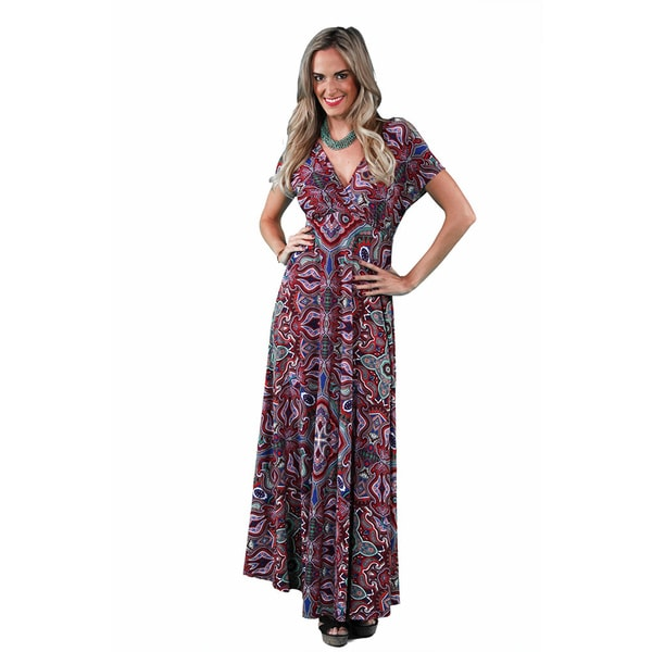 24/7 Comfort Apparel Women's Jagged Paisley Printed Maxi 17598693
