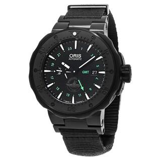 Oris Men's 747 7715 7754 SET 'Diver Force Recon' Black Dial Black Strap GMT Titanium Swiss Automatic Watch