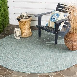Safavieh Indoor/ Outdoor Courtyard Aqua/ Grey Rug (6' 7 Round)