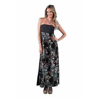 24/7 Comfort Apparel Women's Abstract Polka-Dot Tube Maxi