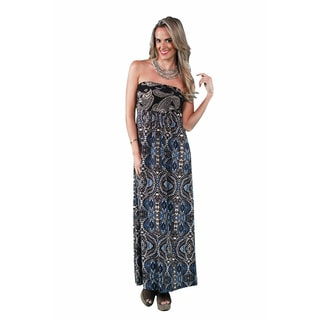 24/7 Comfort Apparel Abstract Paisley Tube Maxi