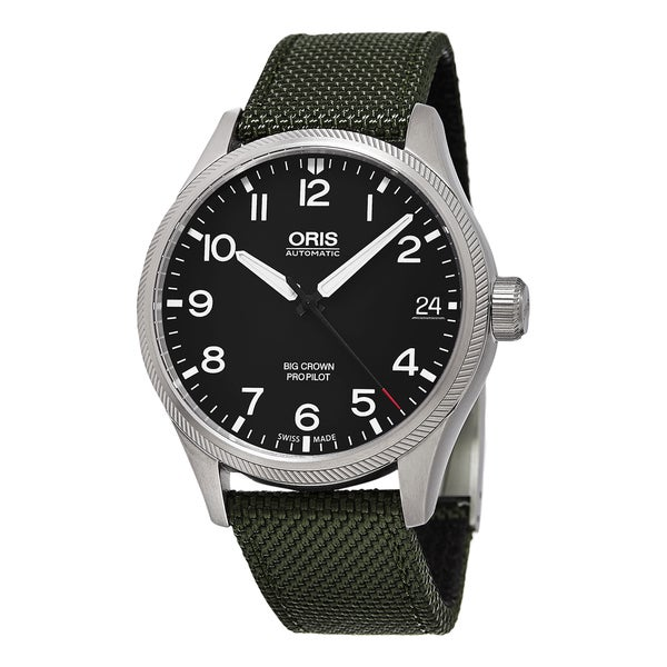 Oris Men's 751 7697 4164 LS 14 'Big Crown' Black Dial Green Fabric Strap ProPilot Date Swiss Automatic Watch