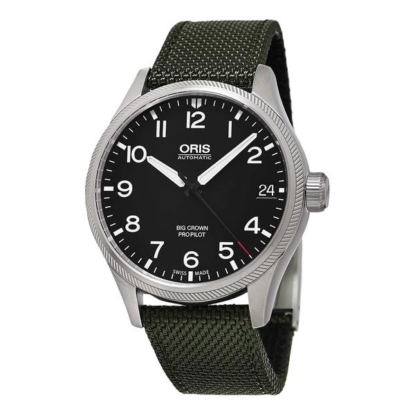Oris Men's 751 7697 4164 LS 14 'Big Crown' Black Dial Green Fabric Strap ProPilot Date Swiss Automatic Watch