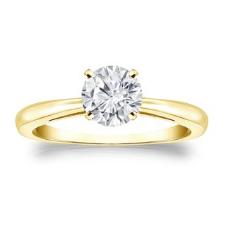 Auriya 18k Gold 3/4ct TDW Round Diamond Solitaire Engagement Ring (H-I, VS1-VS2)