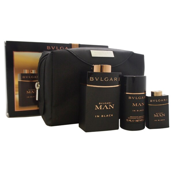 Bvlgari Man In Black Men's 4-piece Gift Set