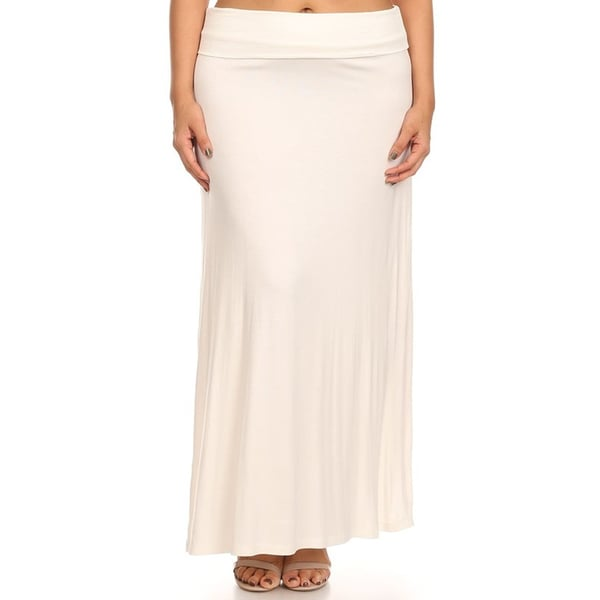 MOA Collection Women's Plus Size Solid Maxi Skirt 17600249