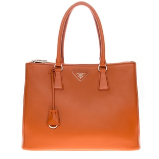 Prada Galleria City Orange Leather Double Handle Bag