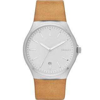 Skagen Men's SKW6261 Sundby Analog Silver Dial Beige Leather Watch