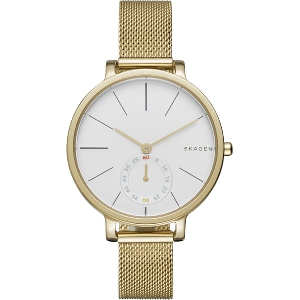 Skagen Women's SKW2436 Hagen Analog White Dial Gold-Tone Stainless Steel Mesh Bracelet Watch