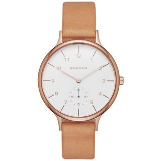 Skagen Women's SKW2405 Anita Analog White Dial Beige Leather Watch