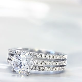 Lihara and Co. 18k White Gold 3/8ct TDW Semi-mount Diamond Engagement Ring (G-H, VS1-VS2)